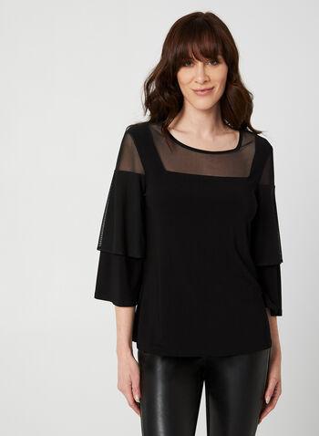 Jersey Mesh Top, Black,  Canada, top, mesh, jersey, 3/4 sleeves, fall 2019, winter 2019