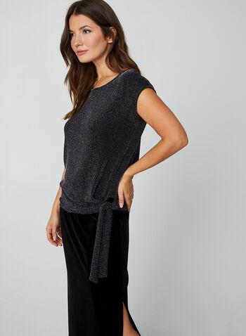 Metallic Knit Top, Black,  canada, glitter, metallic, metallic top, knit, cape sleeves, holiday, top, fall 2019, winter 2019