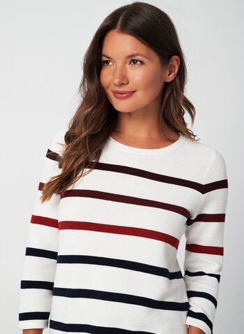 Stripe Print Sweater, White,  fall winter 2019, long sleeves, stripe print,