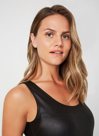 Faux Leather Sleeveless Top, Black,  Canada, sleeveless, faux leather, top, fall 2019, winter 2019