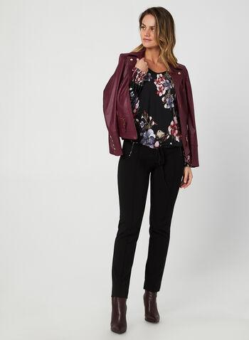 Drawstring Hem Top, Black,  fall winter 2019, jersey fabric, floral print,