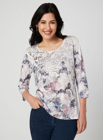 Floral Print ¾ Sleeve T-Shirt, White,  t-shirt, 3/4 sleeves, floral print, burnout, rhinestones, fall 2019, winter 2019