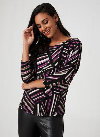 Geometric Stripe Print Top, Black,  canada, 3/4 sleeves, top, blouse, jersey top, striped top, stripes, geometric print, geometric top, fall 2019, winter 2019