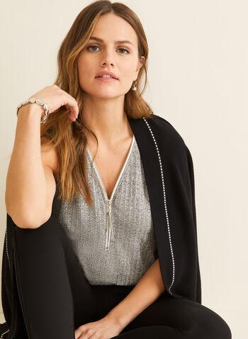 Zipper Detail V-Neck Top, Grey,  top, sleeveless, v-neck, zipper, knit, spring summer 2020