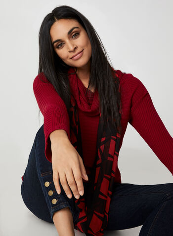 Cowl Neck Sweater, Red,  sweater, long sleeves, cowl neck, fall winter 2019, knit