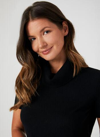 Wool Blend Sweater, Black,  turtleneck sweater, wool, short sleeves, fall 2019, winter 2019