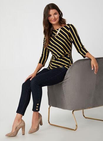 Stripe Print Top, Blue,  Canada, top, 3/4 sleeves, stripe print, pleats, fall 2019, winter 2019
