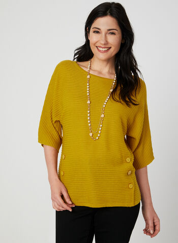 Dolman Sleeve Knit Top, Brown,  scoop neck, textured, ribbed, knit, wool, buttons, elbow sleeves, fall 2019, winter 2019