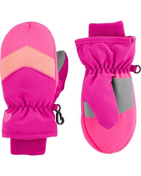 Pink Colorblock Ski Mittens by Oshkosh