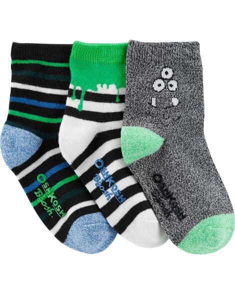 3 Pack Glow In The Dark Monster Crew Socks by Oshkosh
