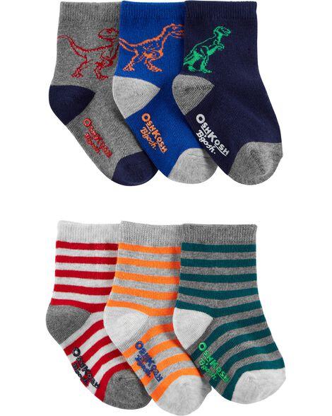 6 Pack Stripes & Dinosaurs Crew Socks by Oshkosh