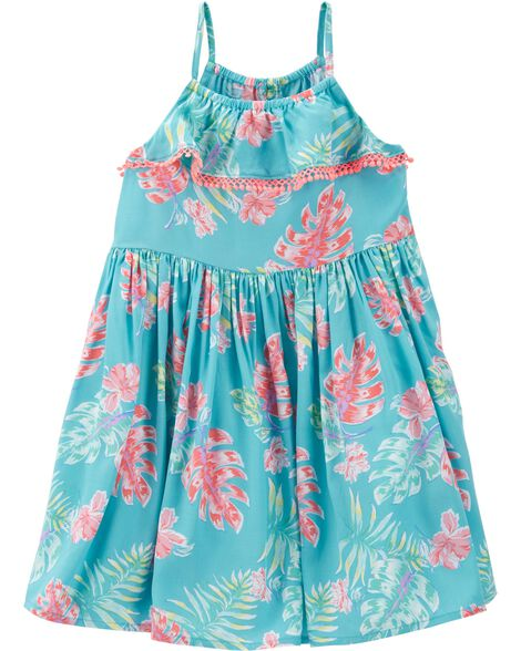 Ruffle Front Tropical Floral Dress by Oshkosh