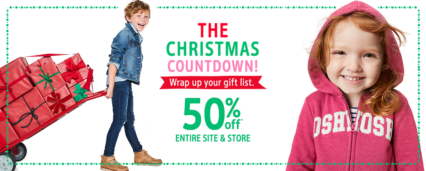 The Christmas countdown! wrap up your gift list. | 50% off* entire site and store