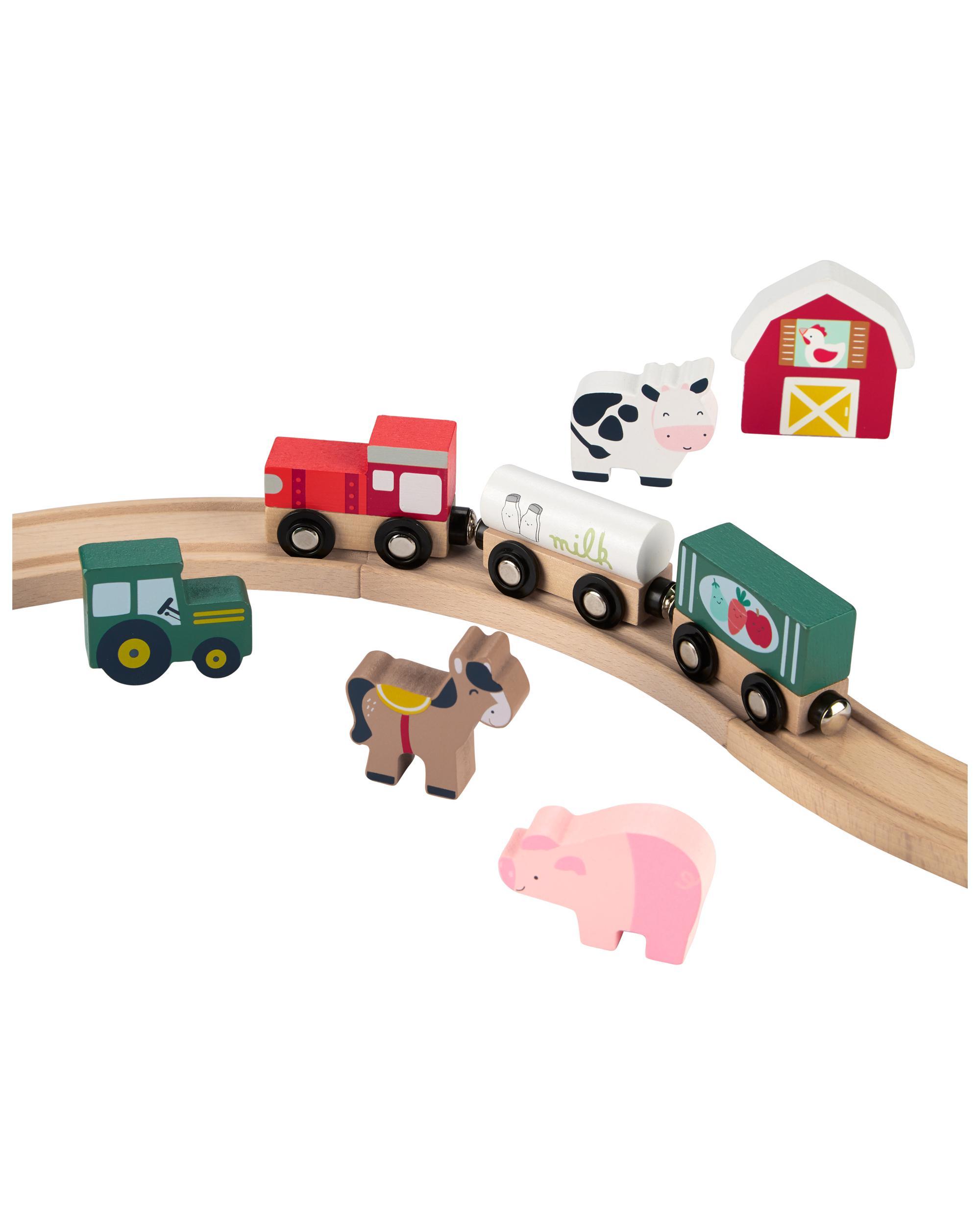 Oshkoshbgosh Wooden Farm Animal & Train Set