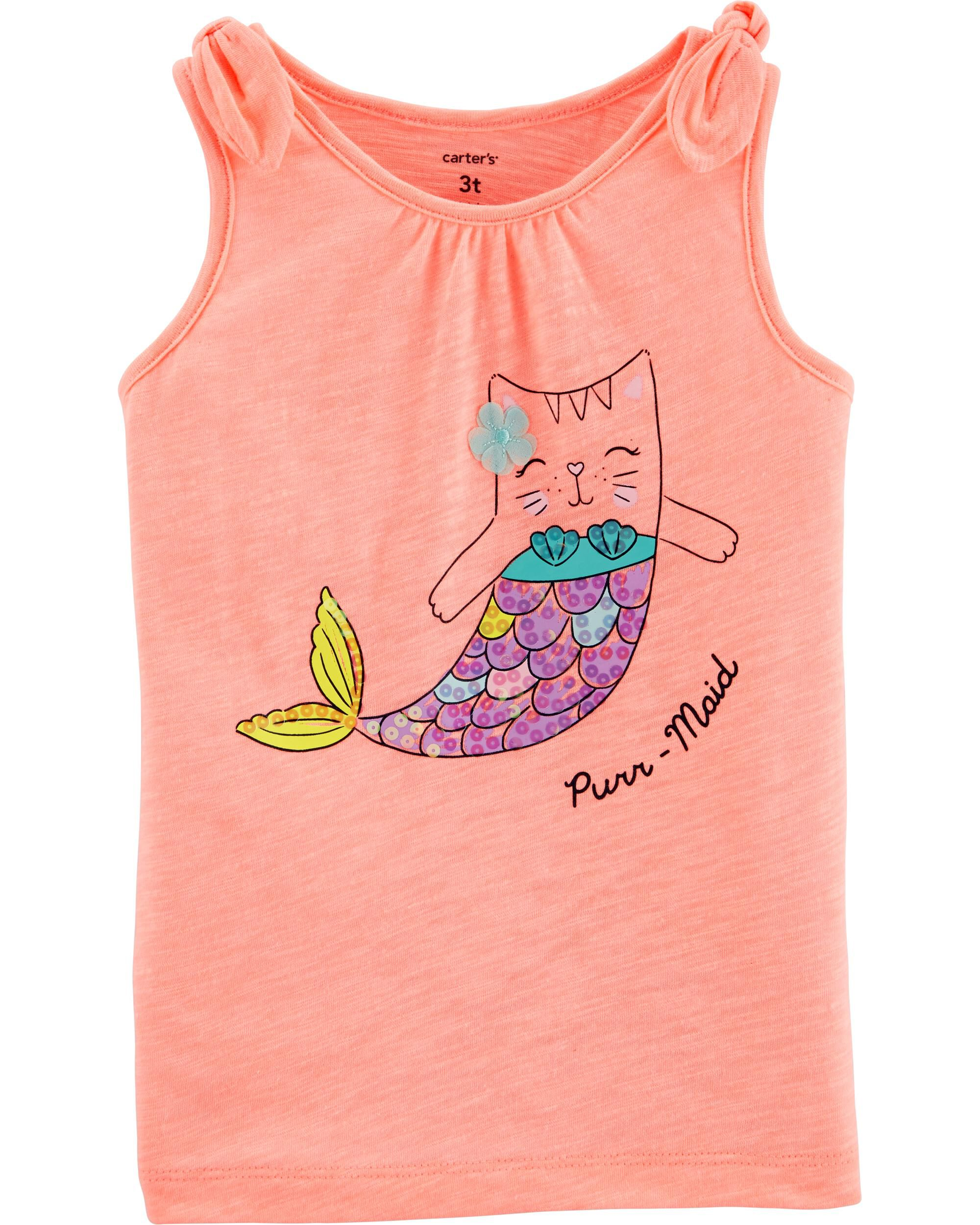 *Clearance*  Neon Cat Mermaid Jersey Tank