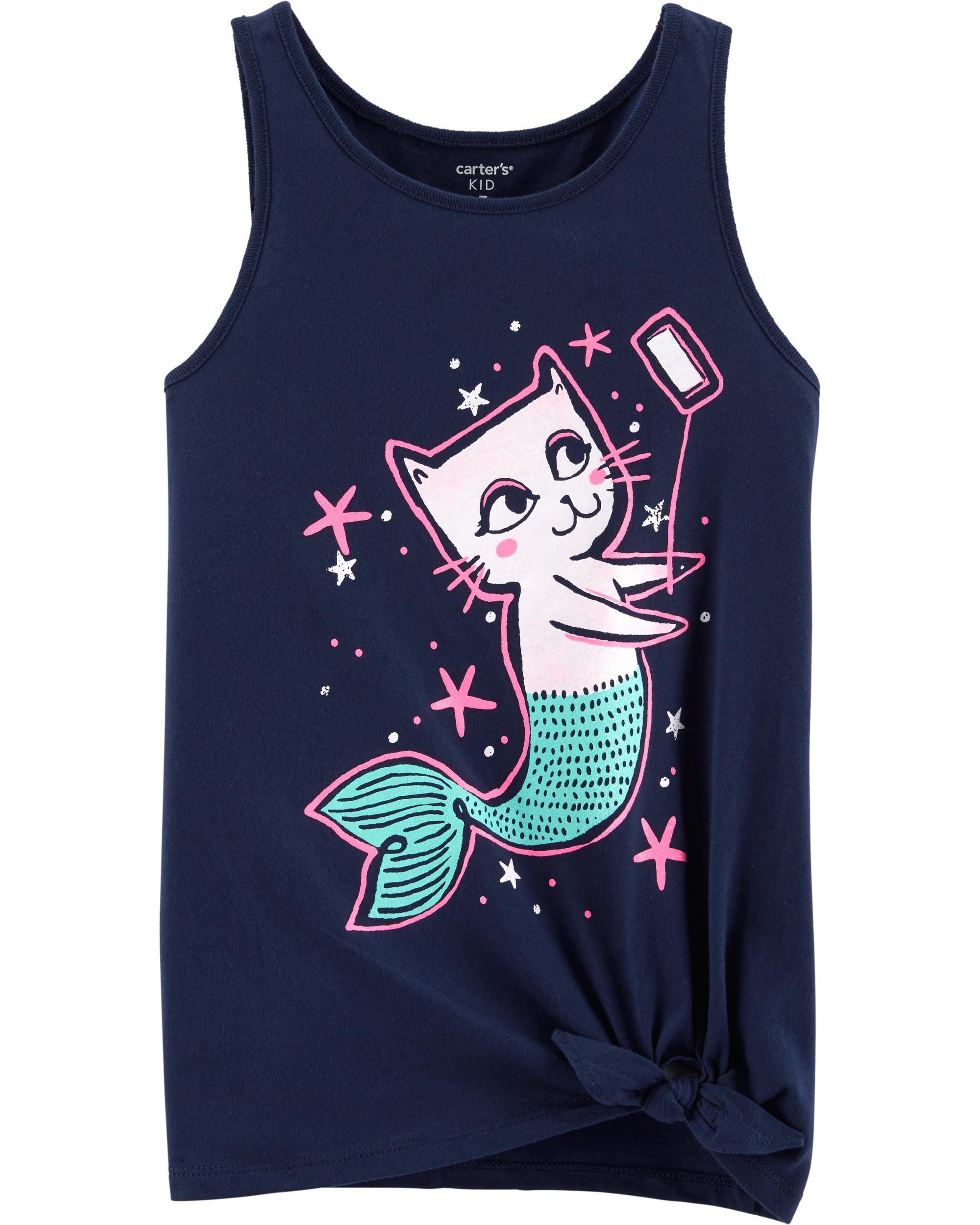 *Clearance*  Cat Mermaid Selfie Tie Waist Tee
