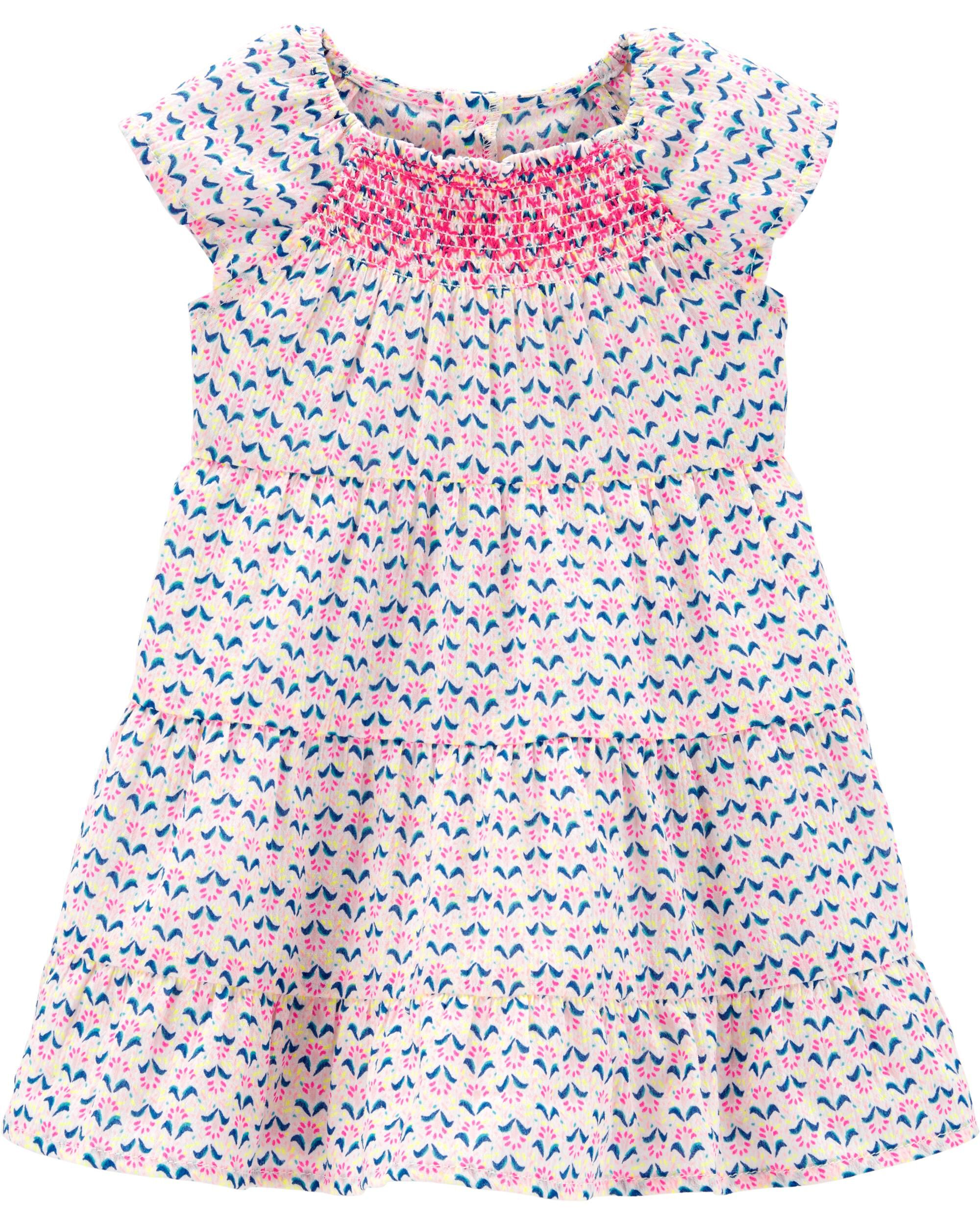 *Clearance*  Geo Print Gauze Tiered Dress