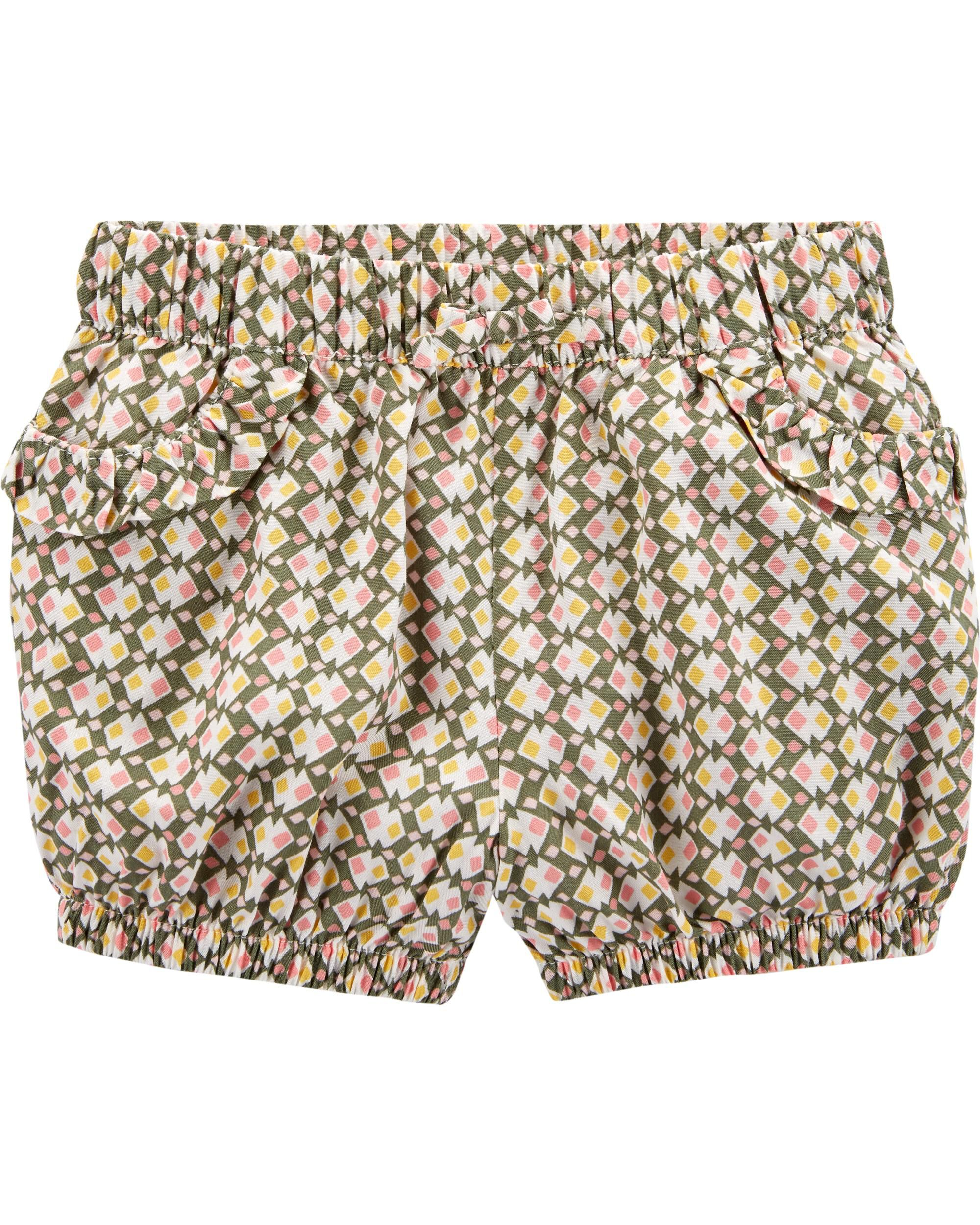 *Clearance*  Geo Print Pull-On Bubble Shorts