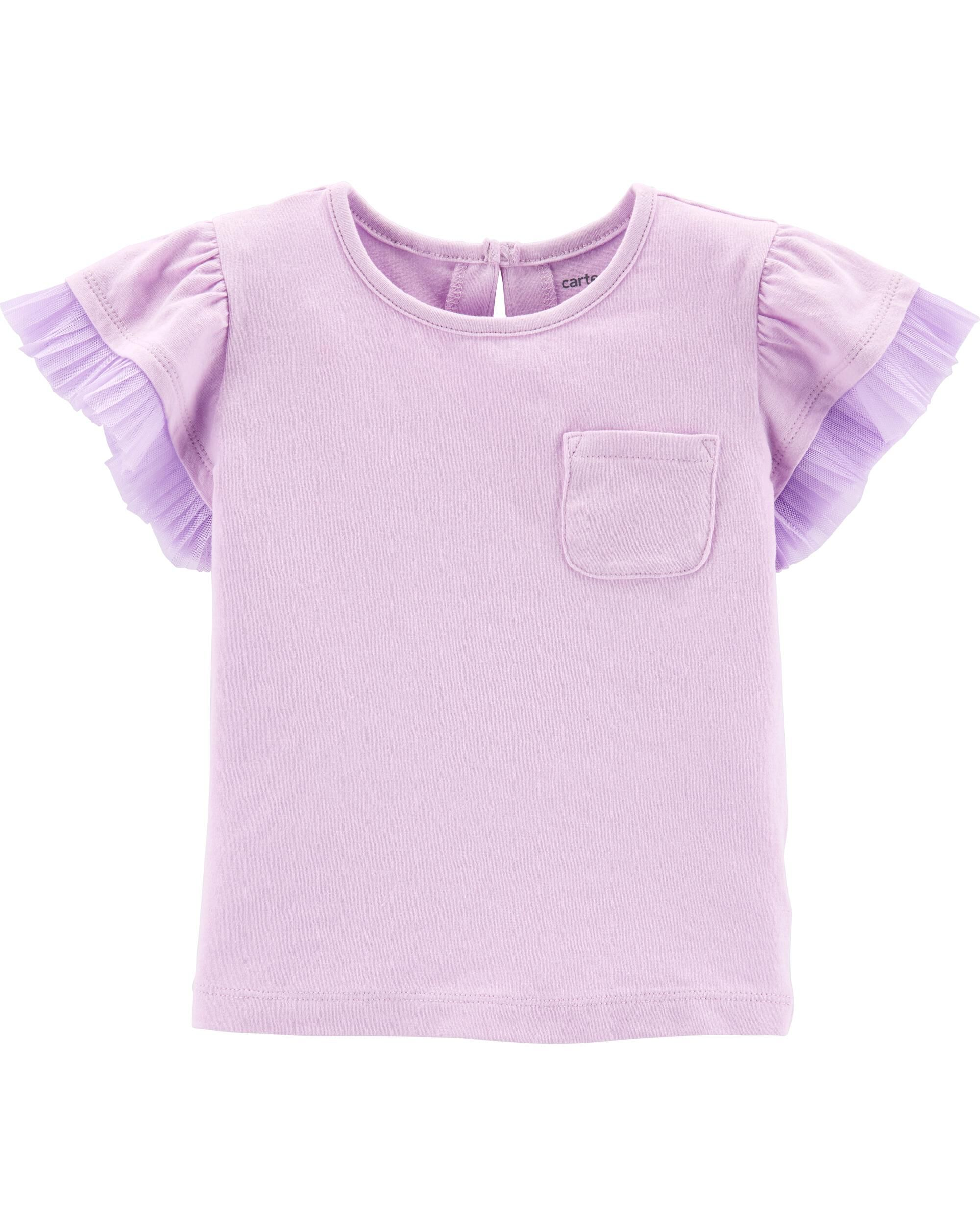 *Clearance*  Layered Tulle-Sleeve Pocket Tee