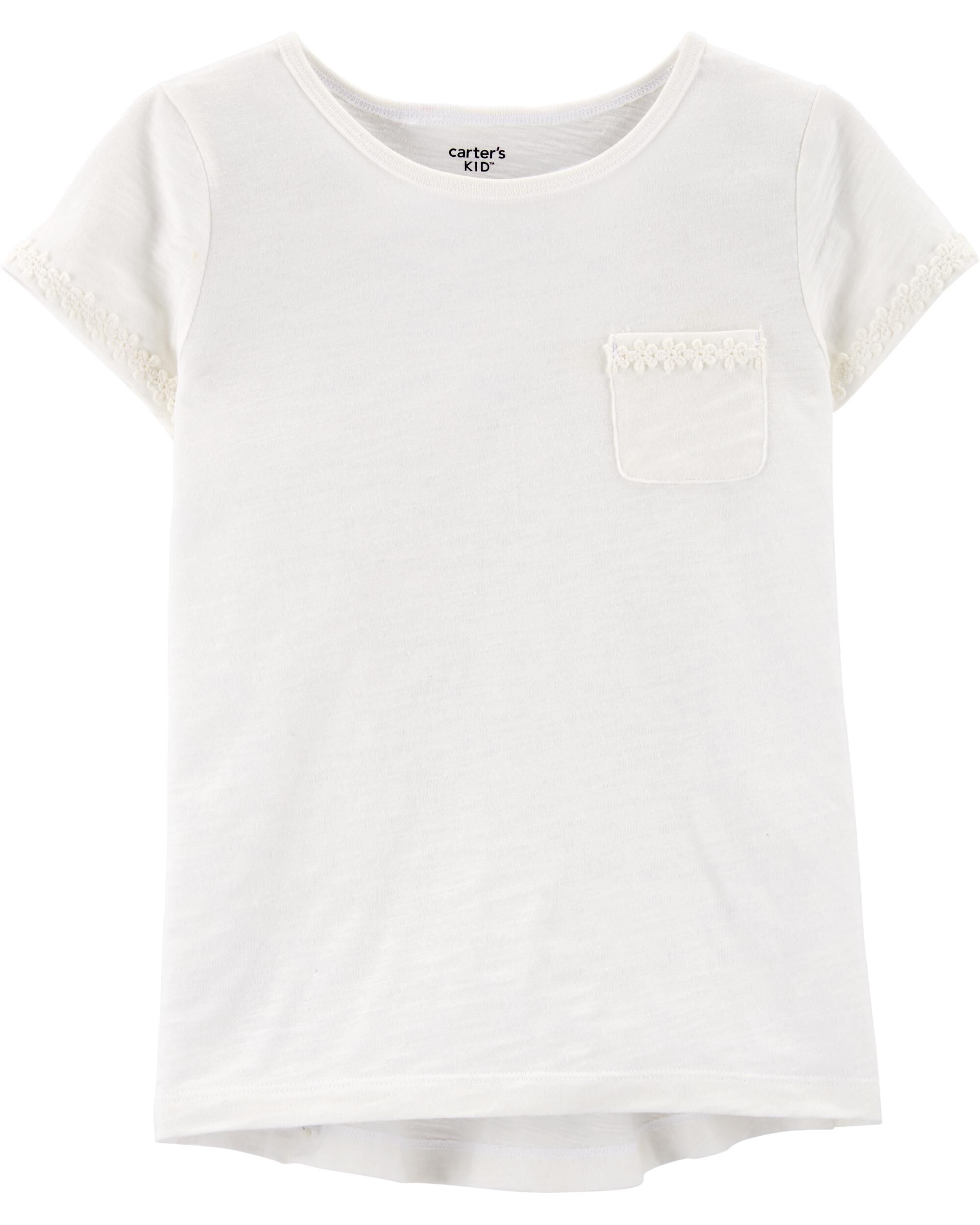 *Clearance*  Crochet Trim Pocket Tee