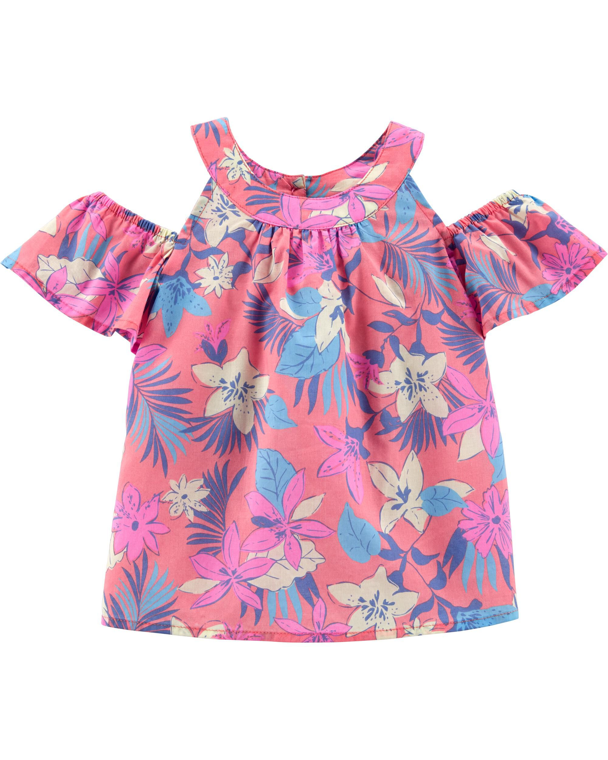 *Clearance*  Tropical Floral Cold Shoulder Top