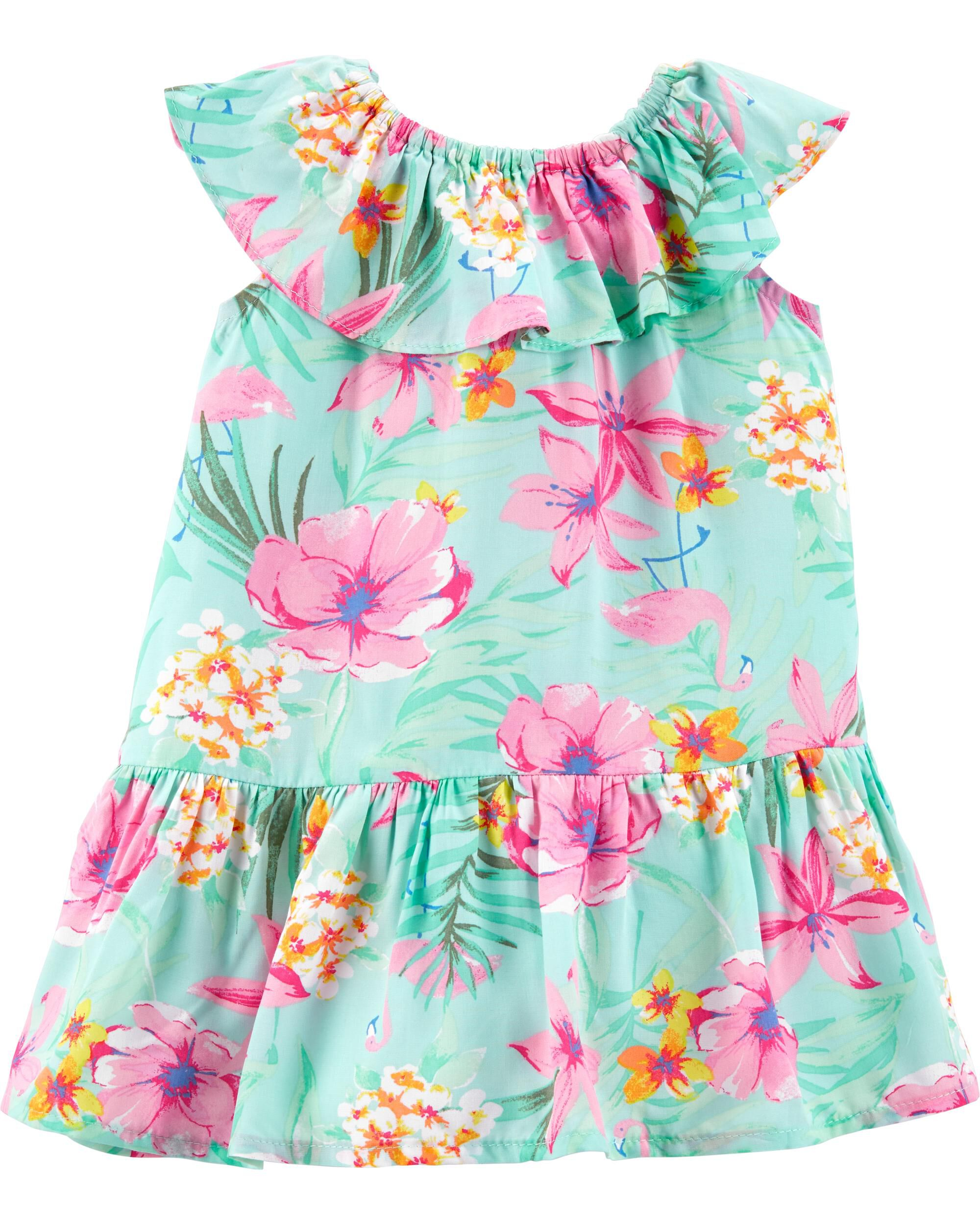 *Clearance*  Tropical Floral Ruffle Dress