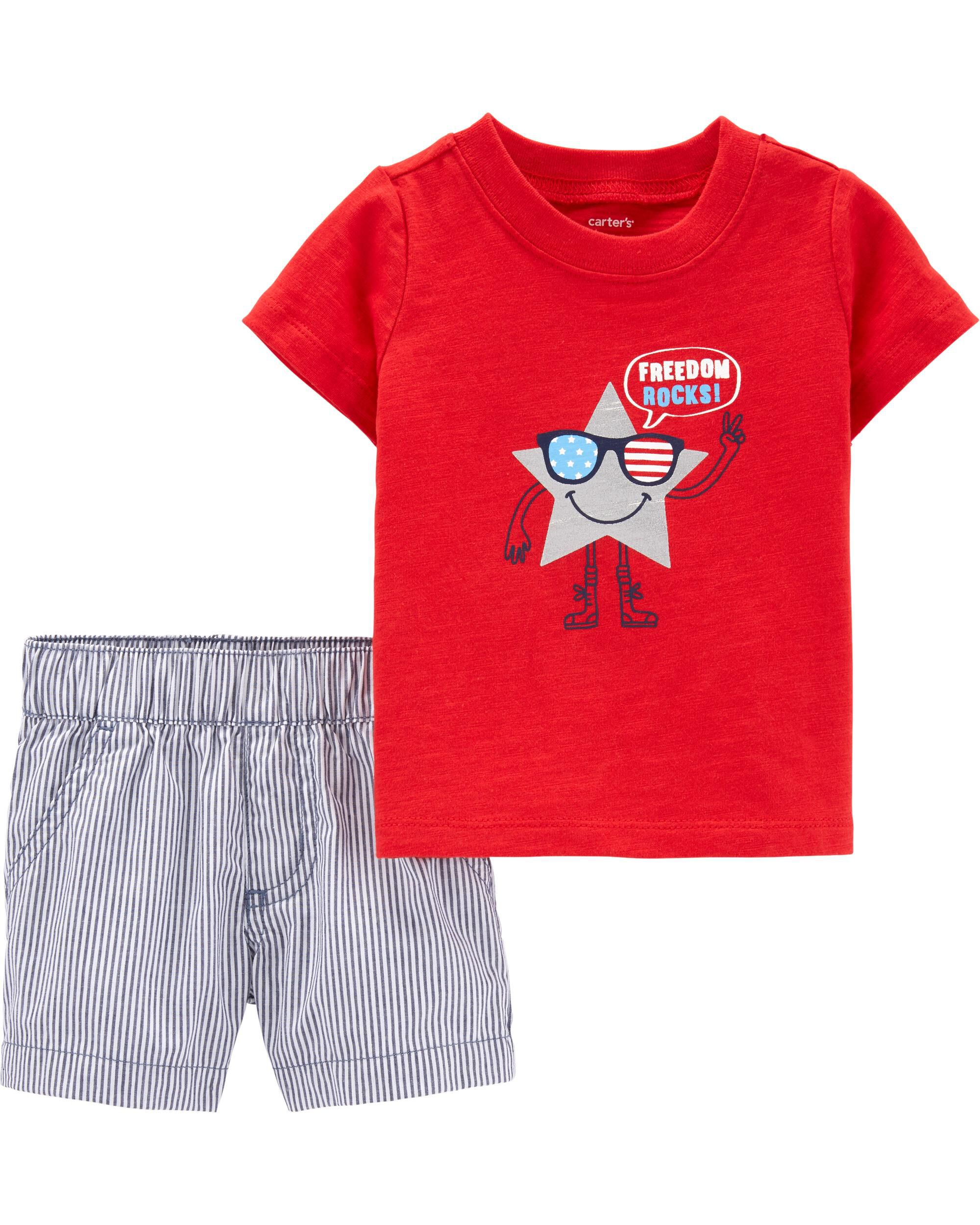 *Clearance*  2-Piece 4th Of July Tee & Striped S...