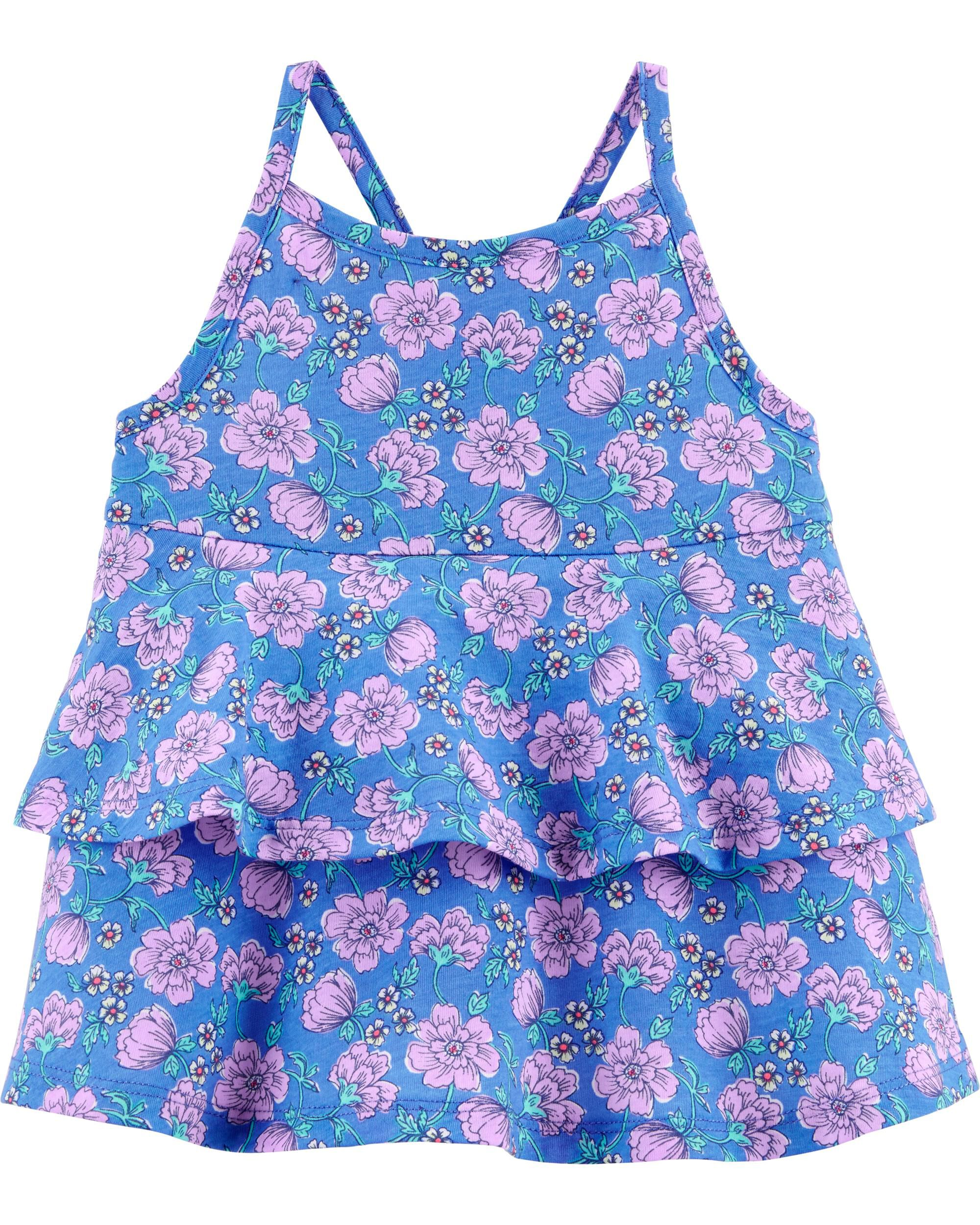 *Clearance*  Double Ruffle Purple Floral Top