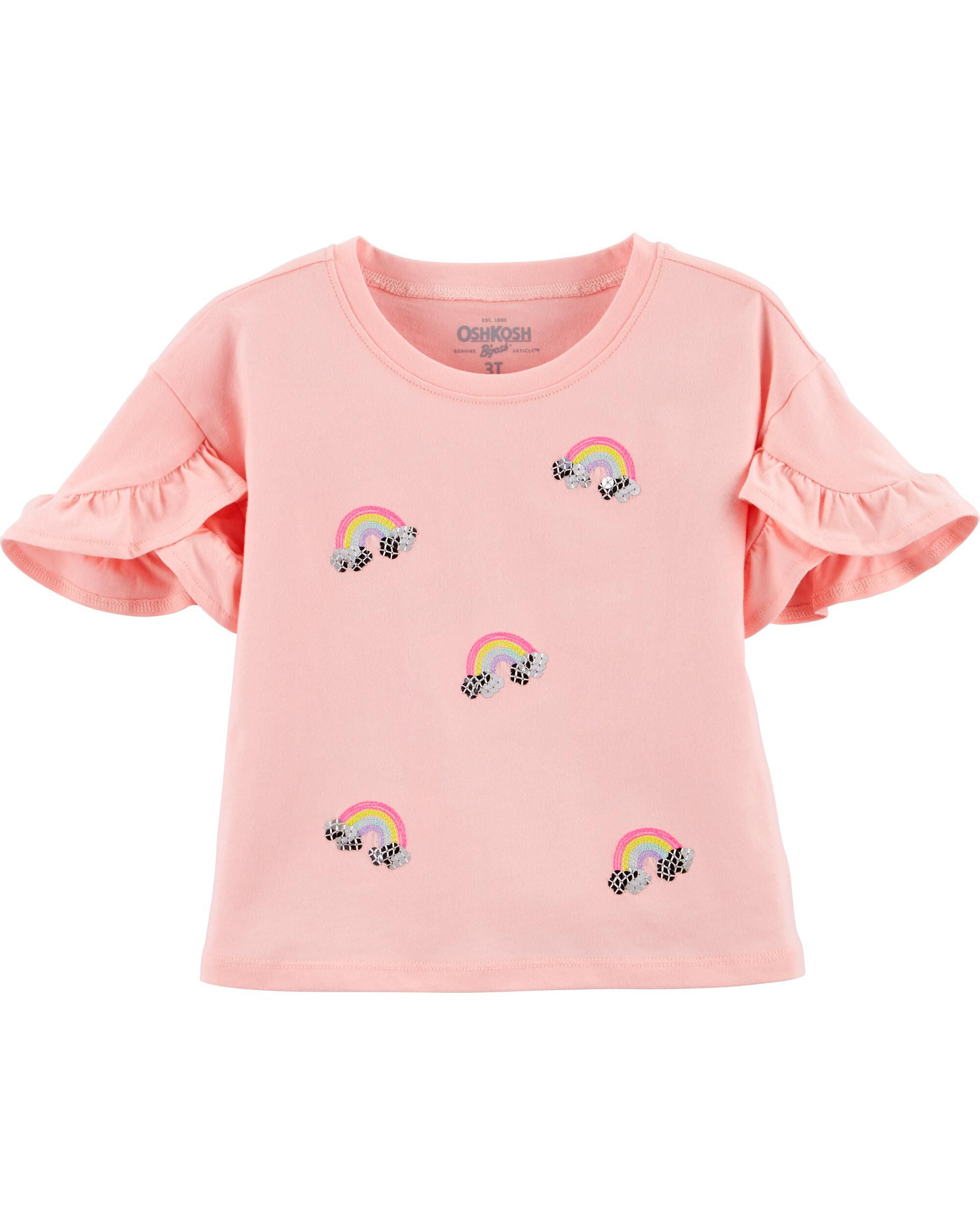 *Clearance*  Ruffle Sleeve Rainbow Top