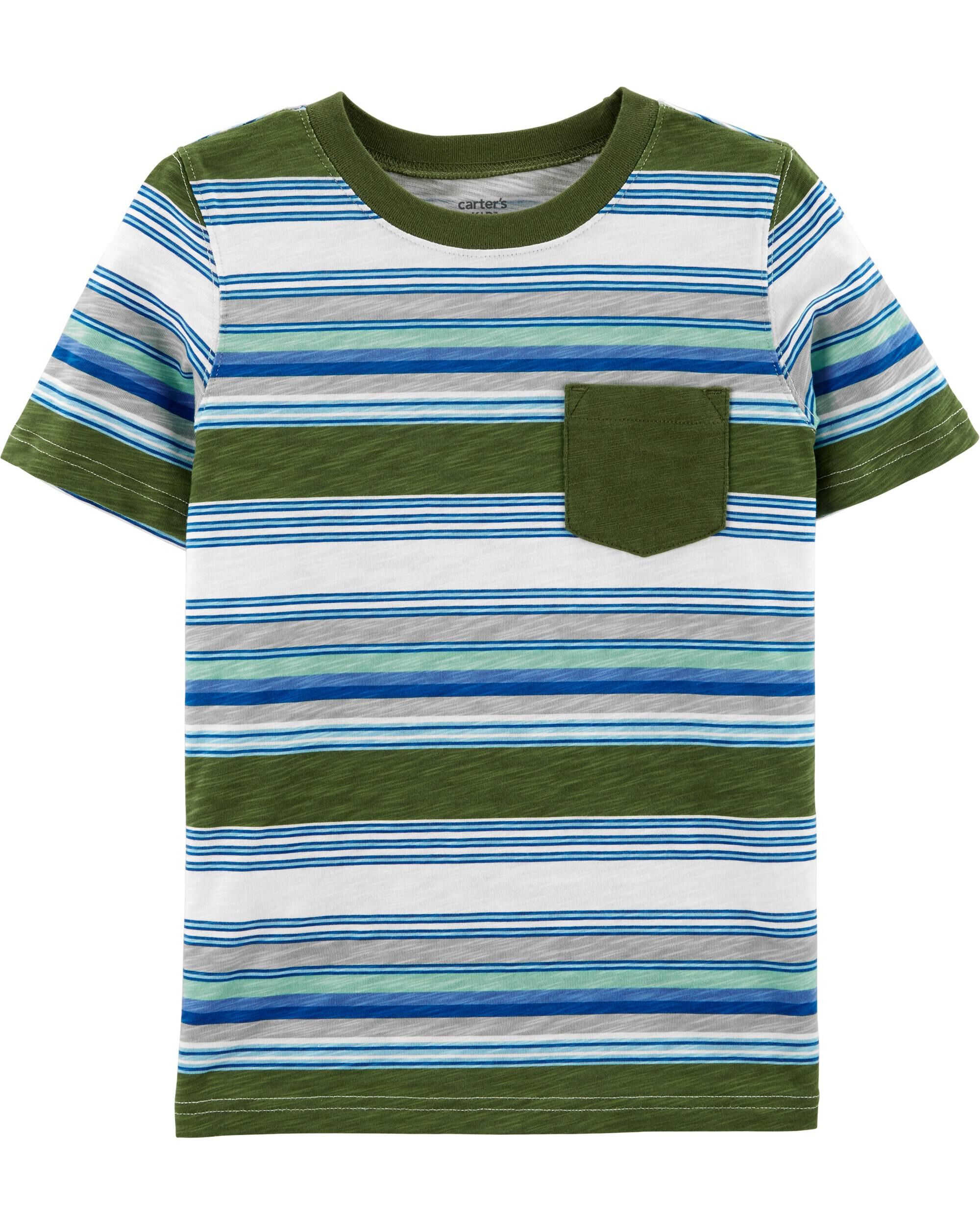 *Clearance*  Striped Slub Jersey Pocket Tee