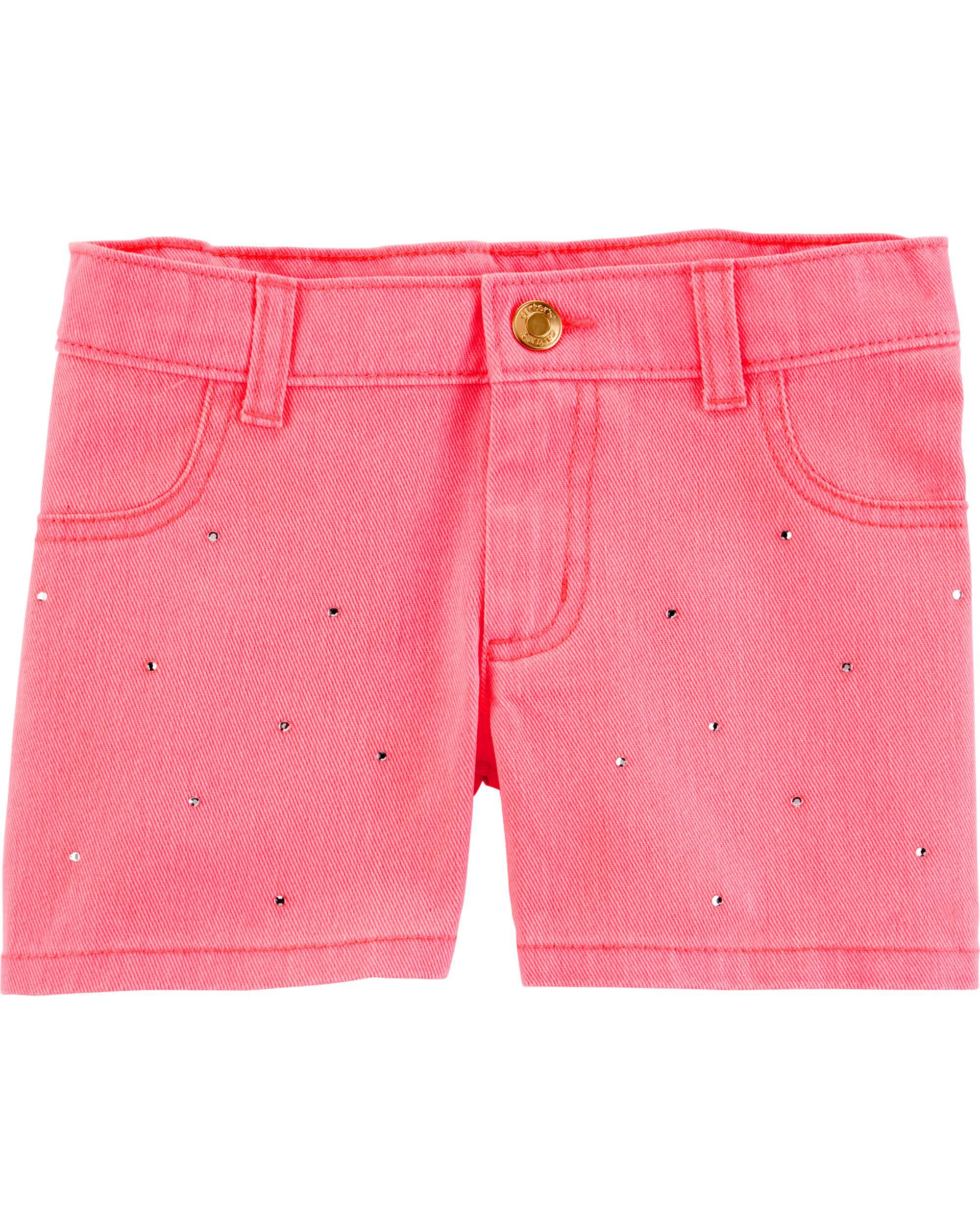 *Clearance*  Rhinestone Flower Twill Shorts