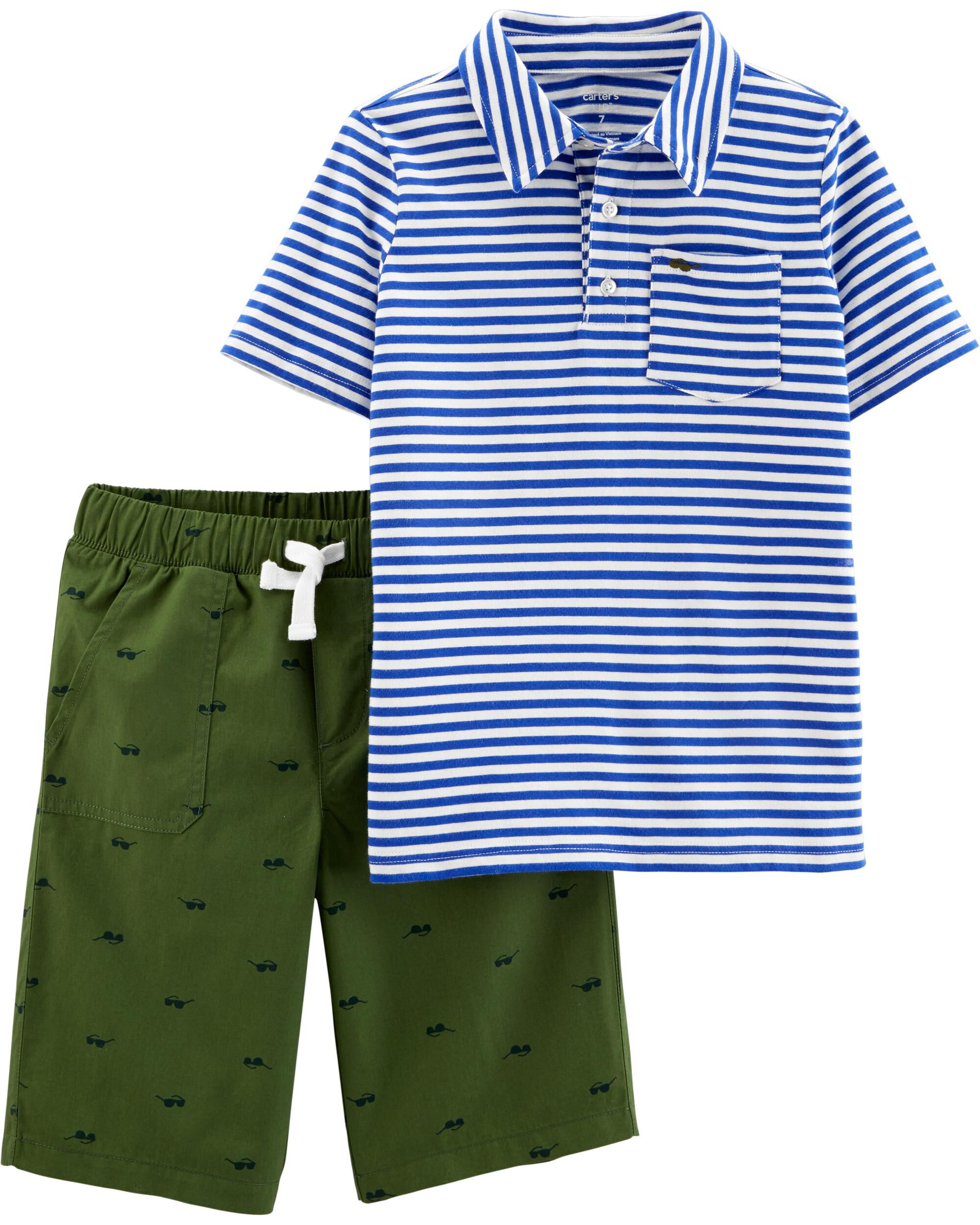 *Clearance*  2-Piece Striped Polo & Poplin Short...