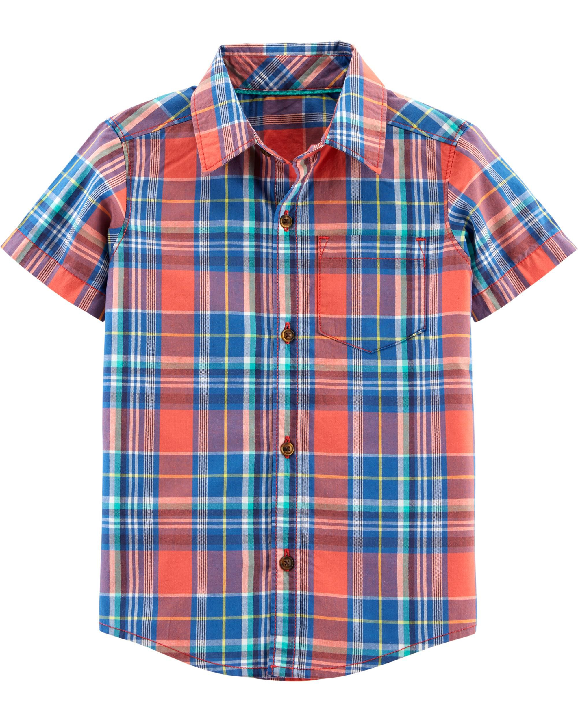 *Clearance*  Plaid Poplin Button-Front Shirt
