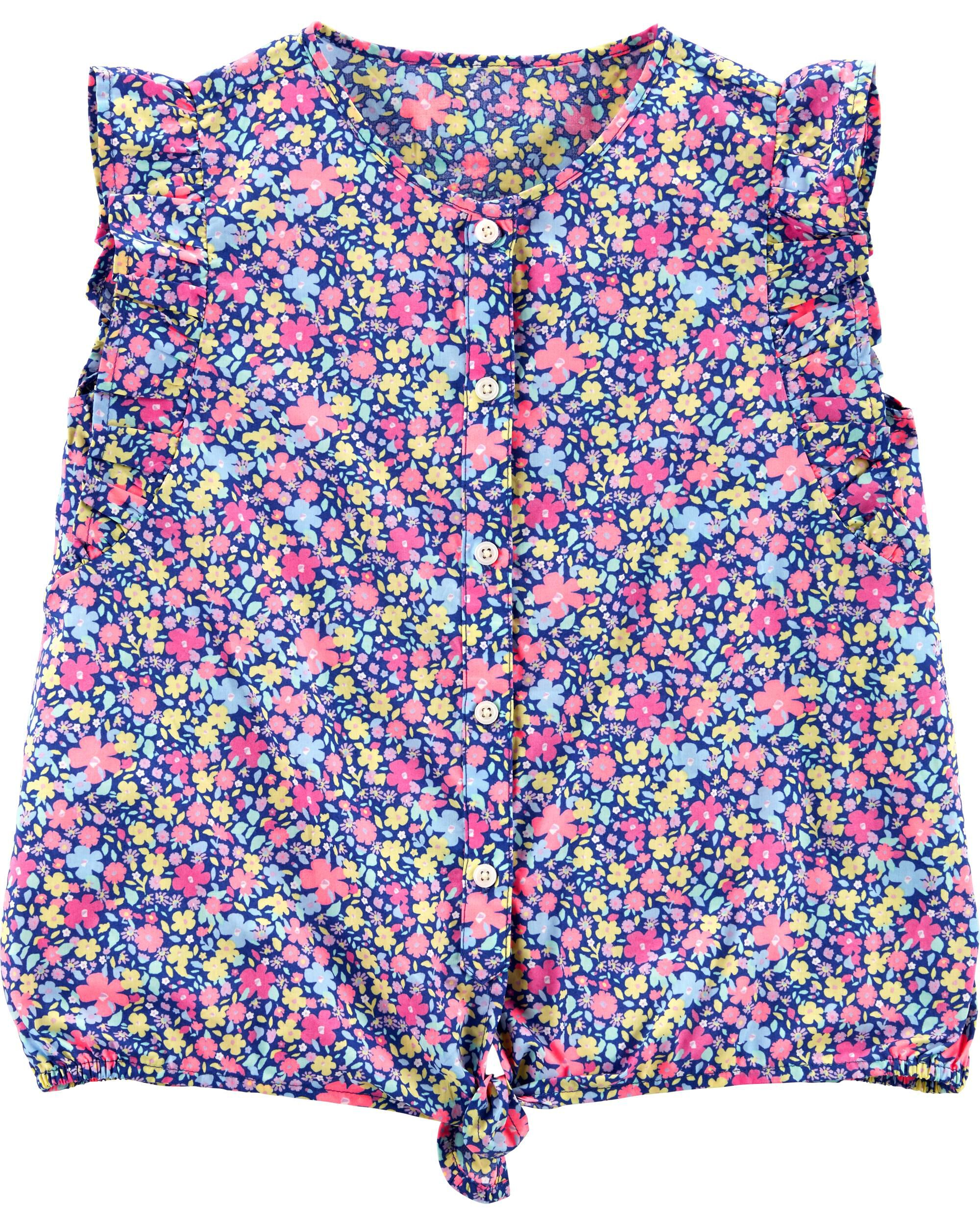*Clearance*  Floral Tie-Front Top