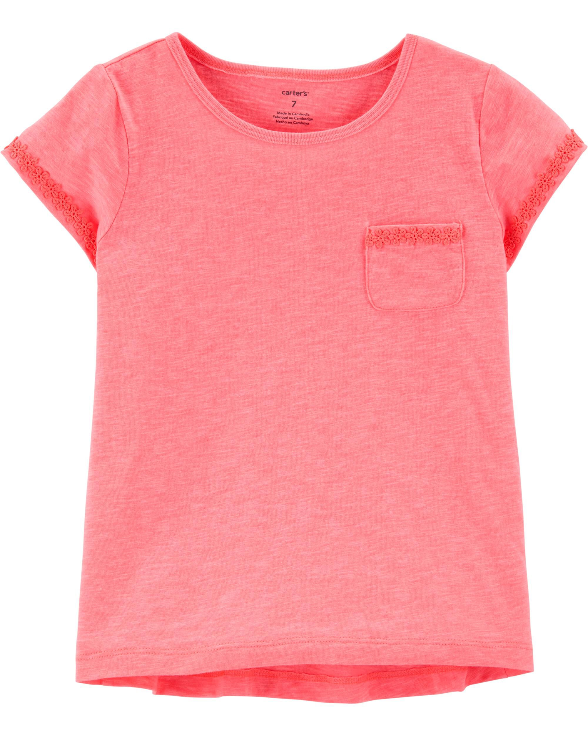 *Clearance*  Neon Crochet Trim Pocket Tee