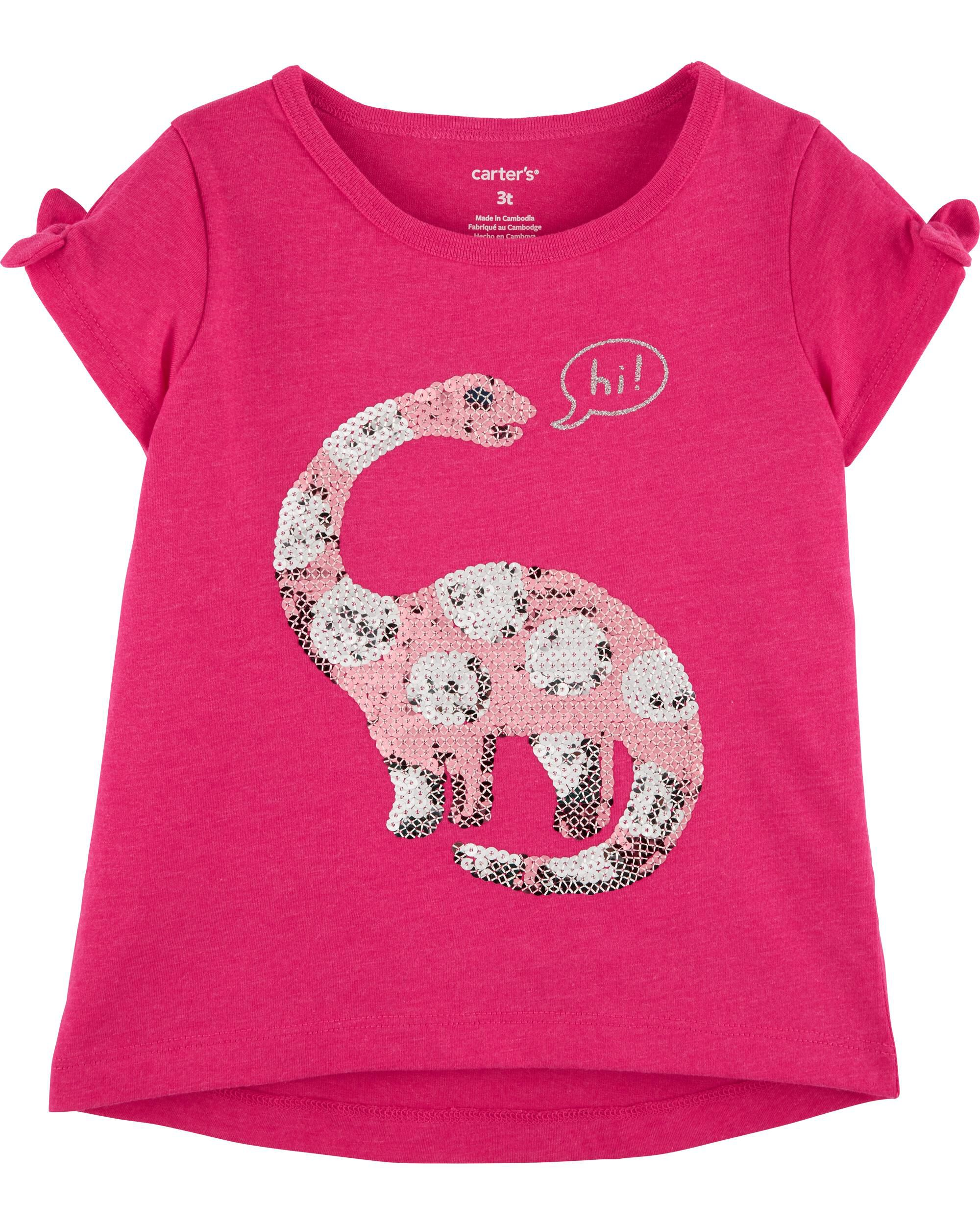 *Clearance*  Dinosaur Split Shoulder Hi-Lo Tee