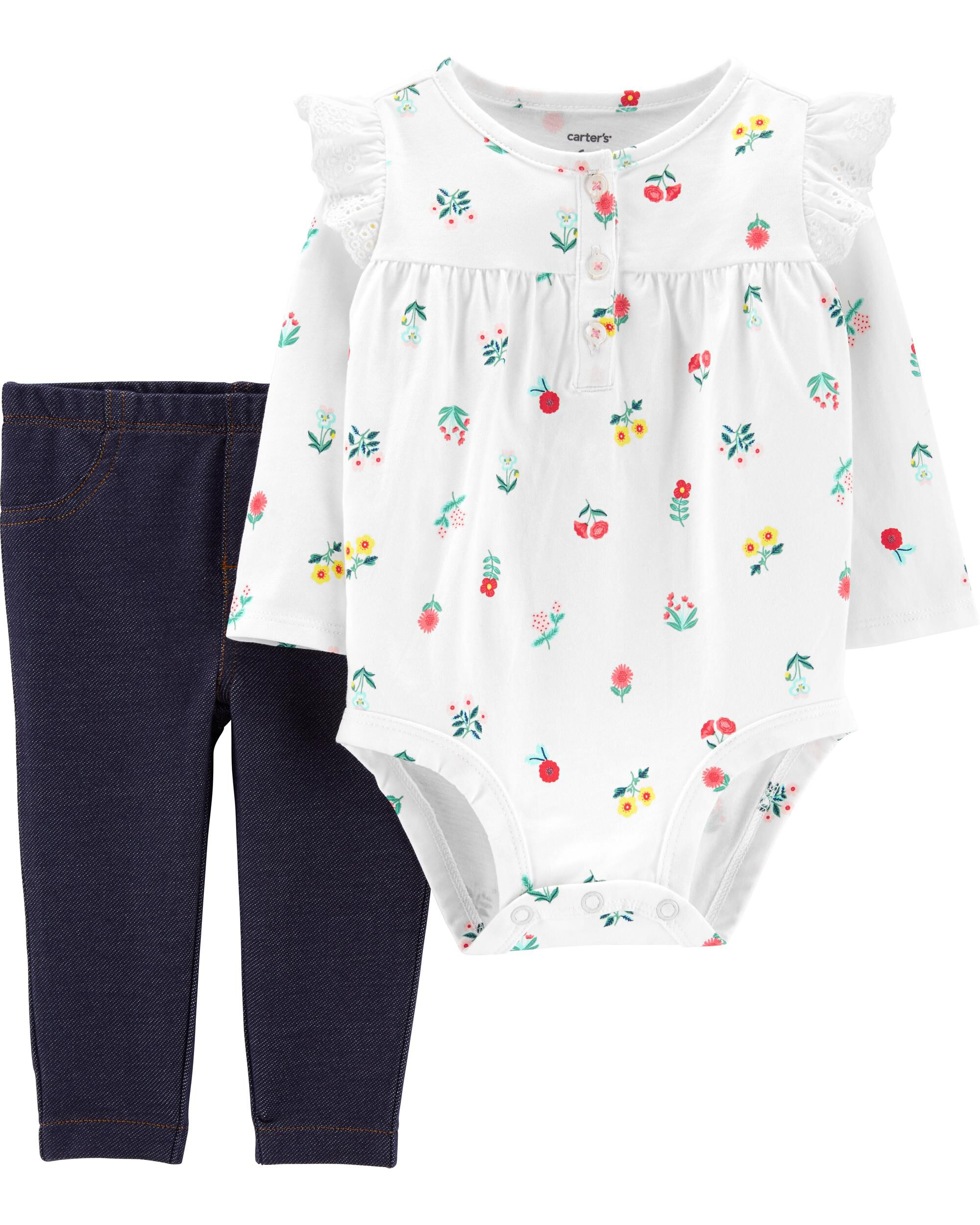 2-Piece Floral Bodysuit Pant Set