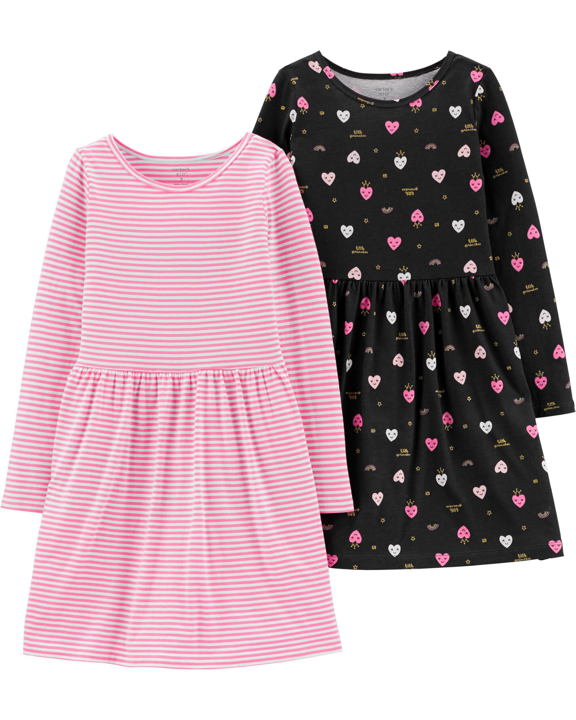 2-Pack Hearts & Striped Jersey Dres...