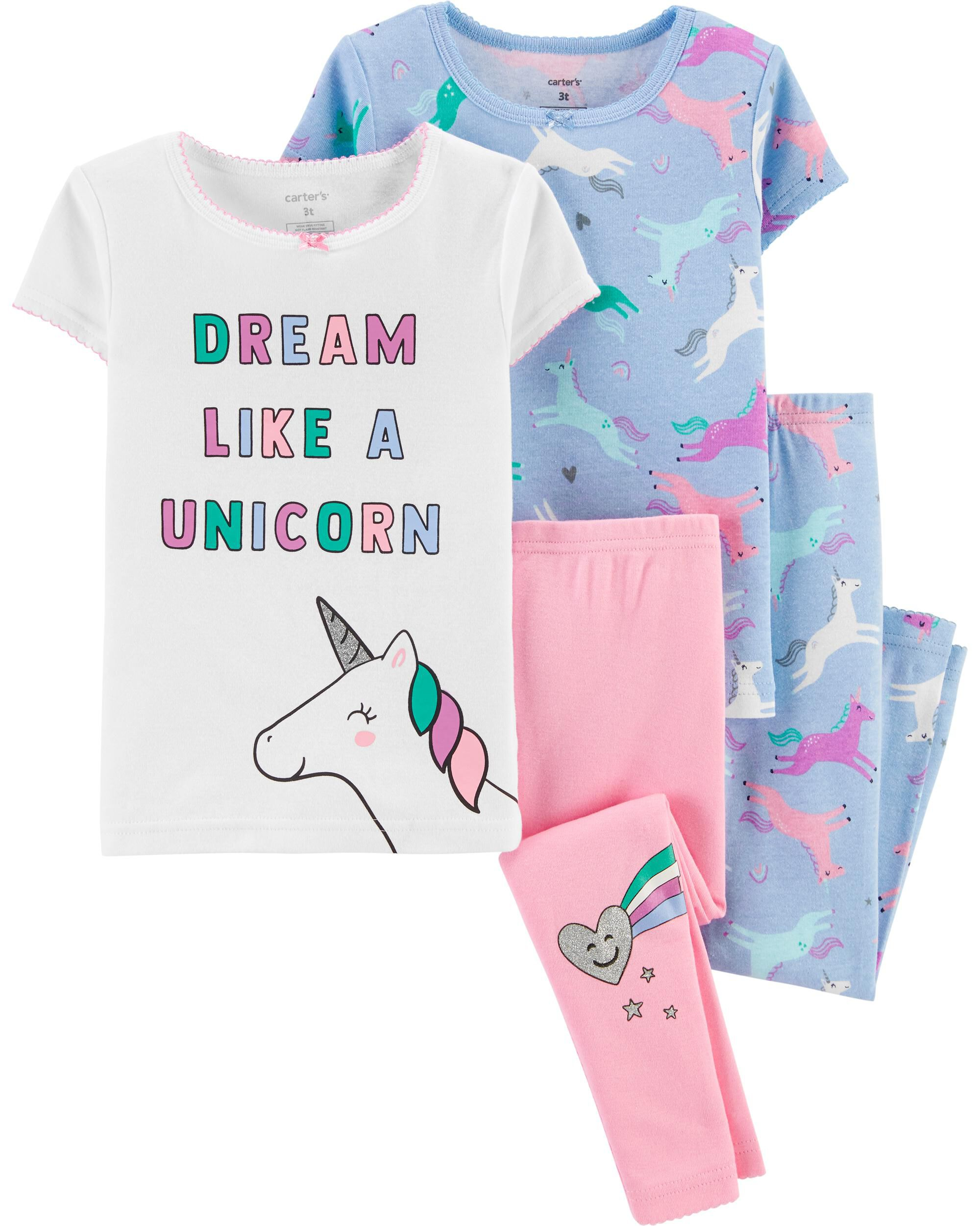 4-Piece Unicorn Snug Fit Cotton PJs