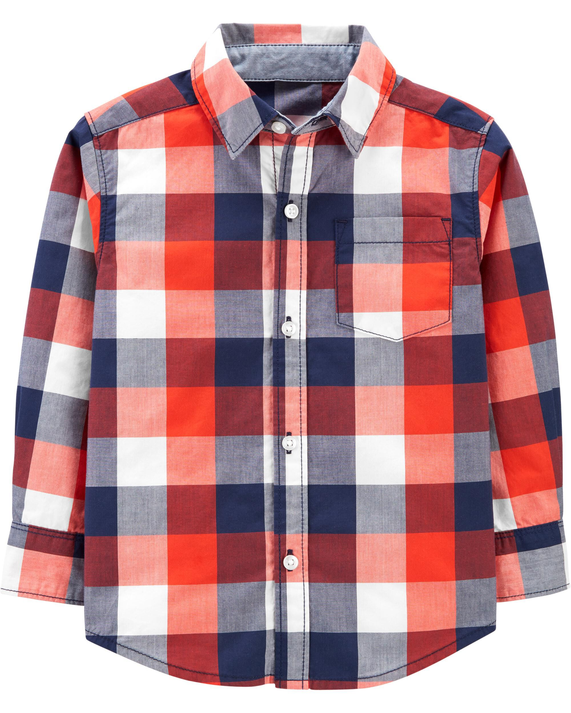 Plaid Poplin Button-Front Shirt