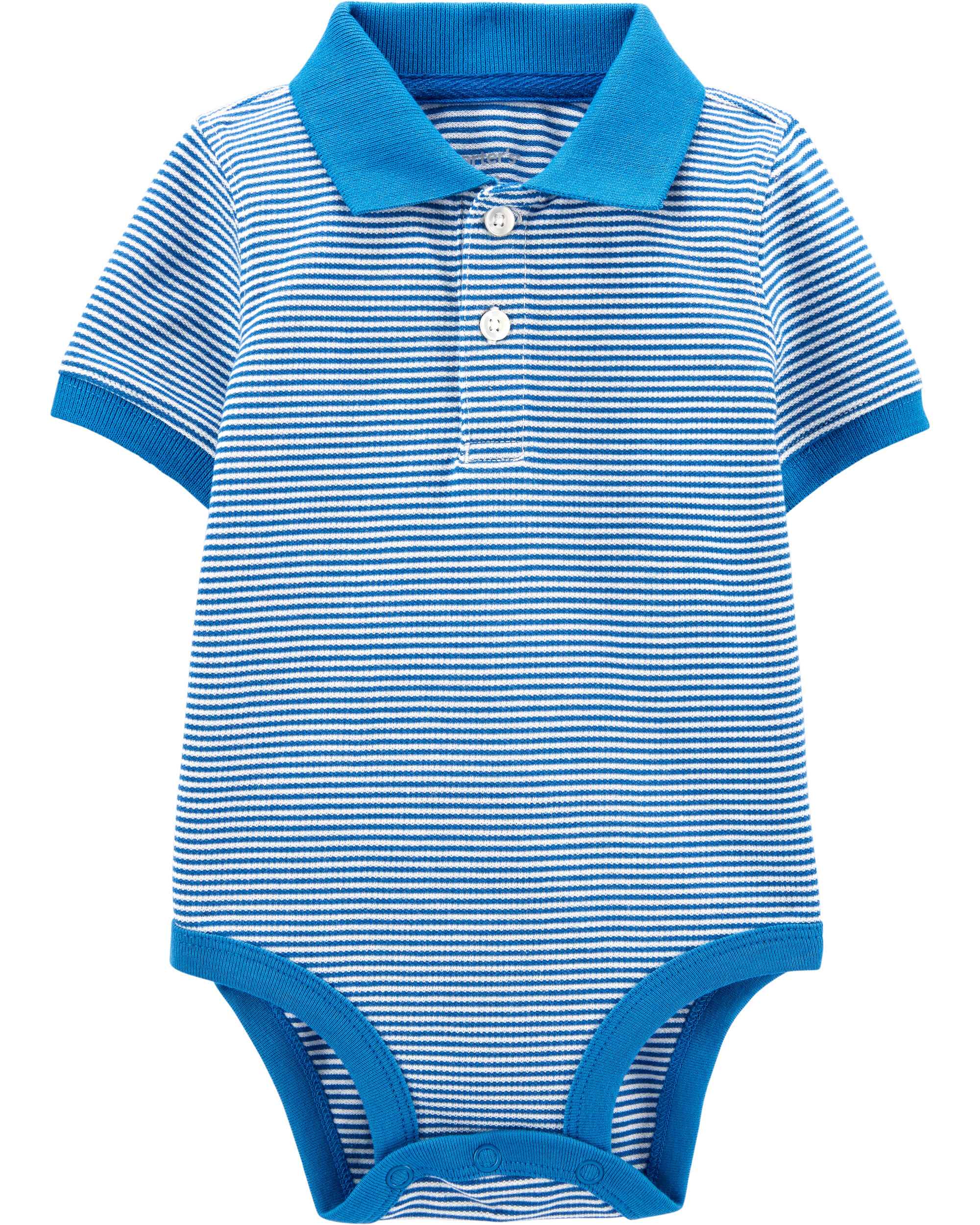 Striped Piqué Polo Bodysuit