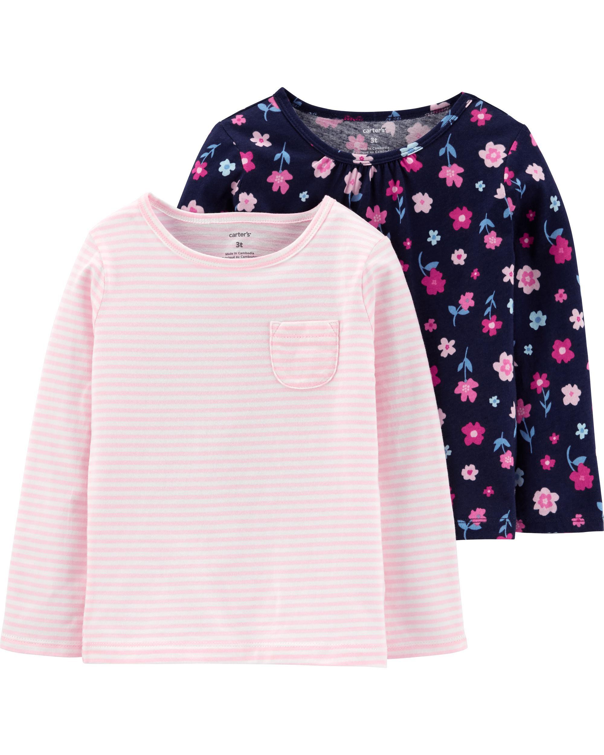 2-Pack Floral & Striped Jersey Tees