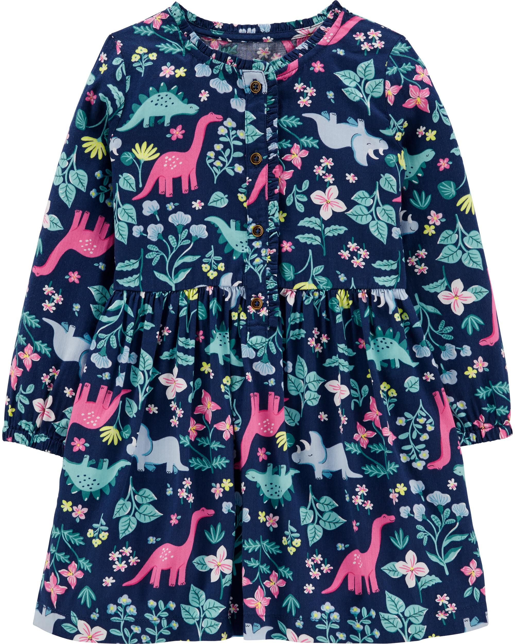 Floral Dinosaur Sateen Dress