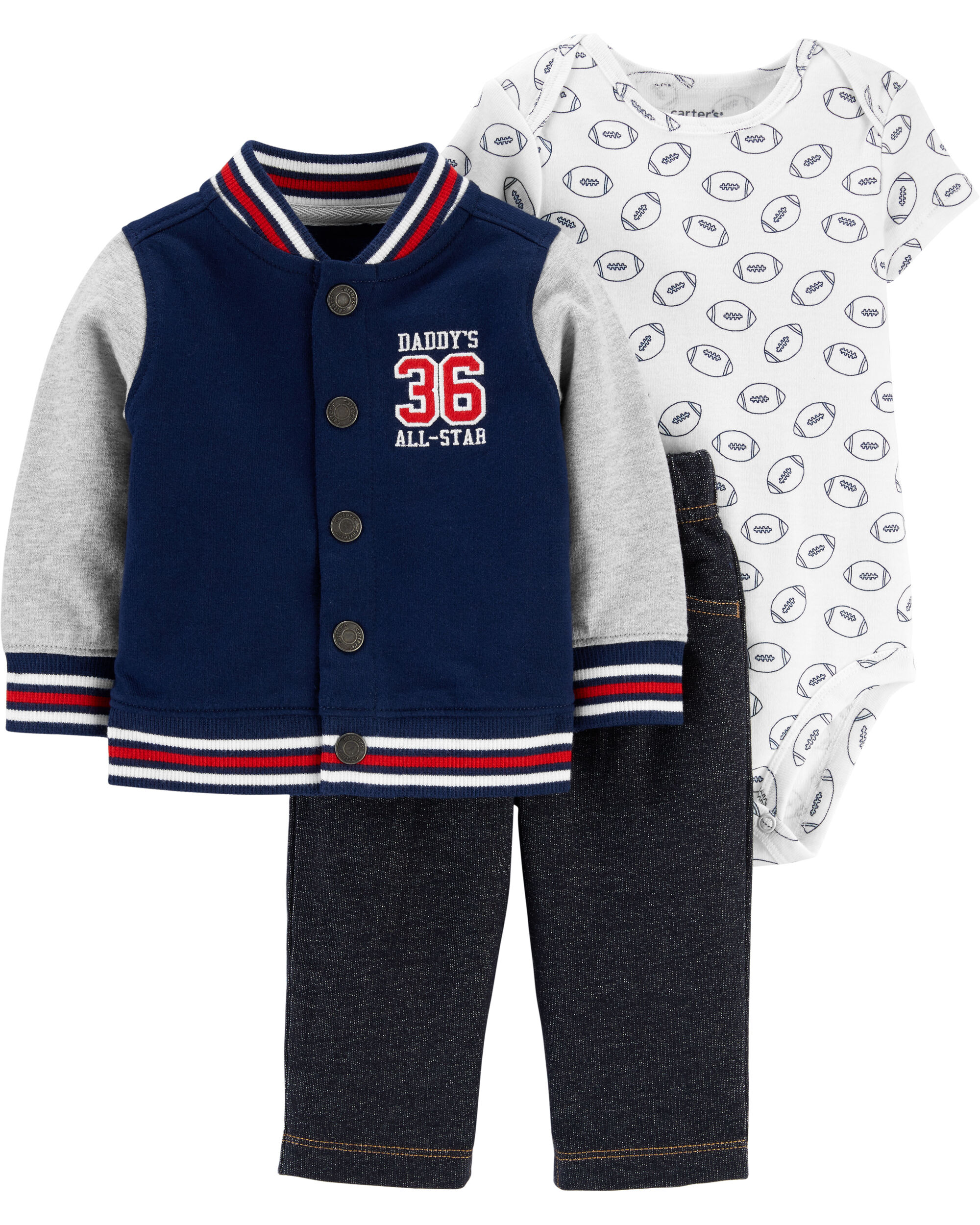 3-Piece Varsity Little Jacket Set