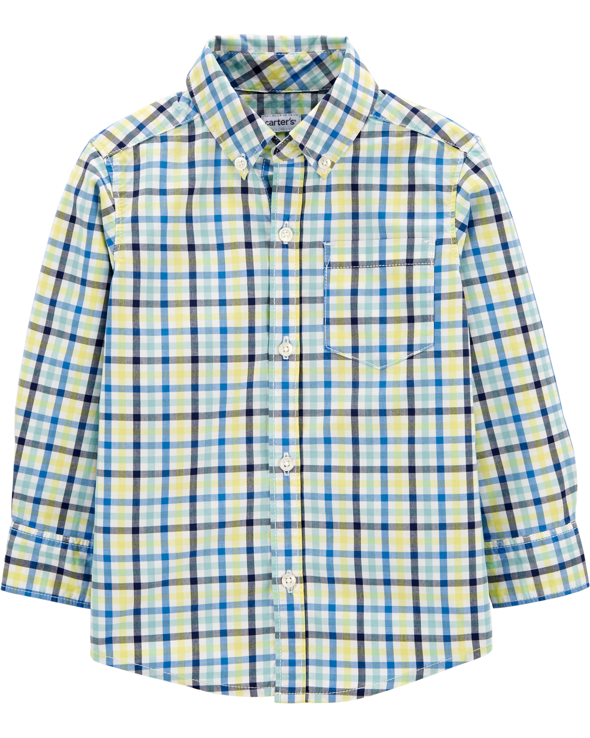 Plaid Button-Front Poplin Shirt