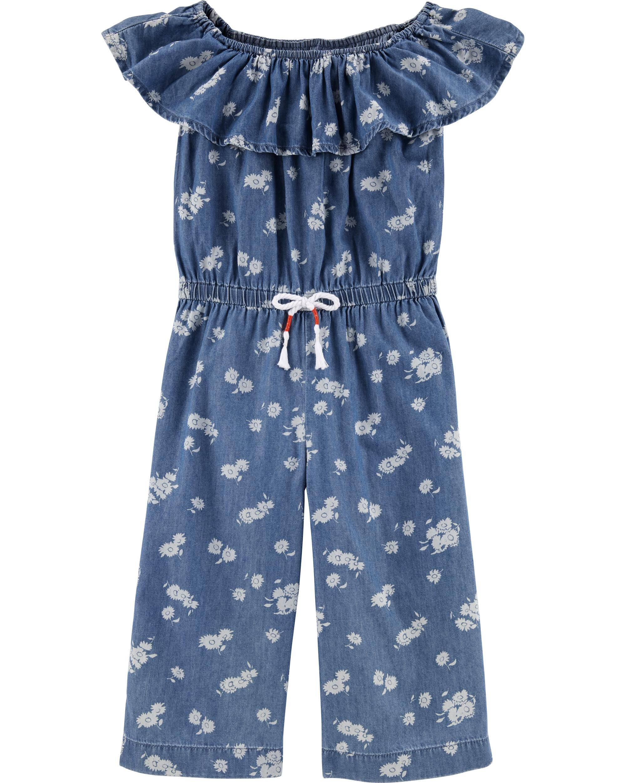 Chambray Floral Jumpsuit