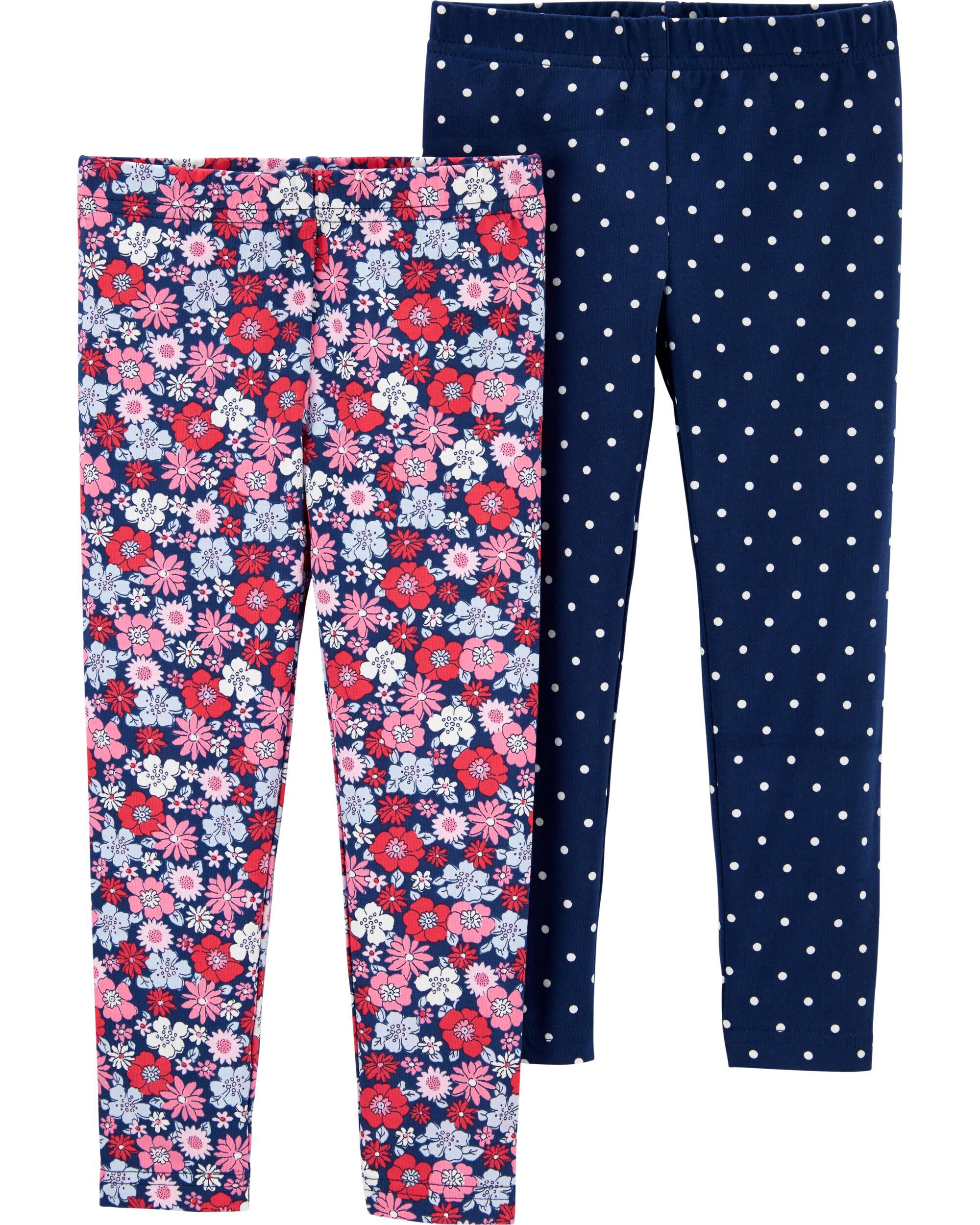 2-Pack Floral & Polka Dot Leggings