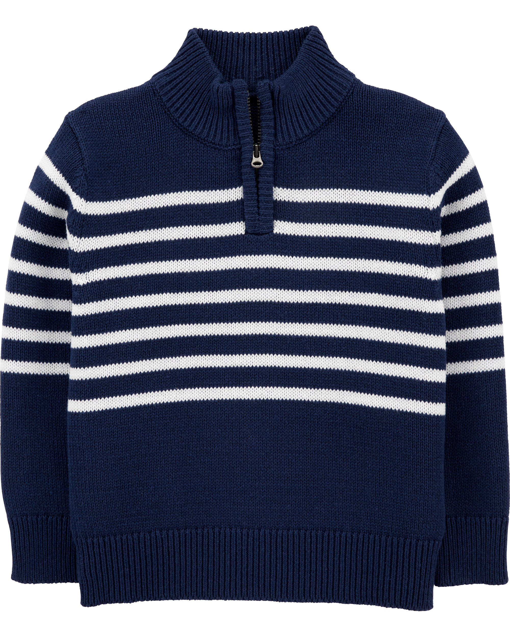 Half-Zip Knit Striped Pullover