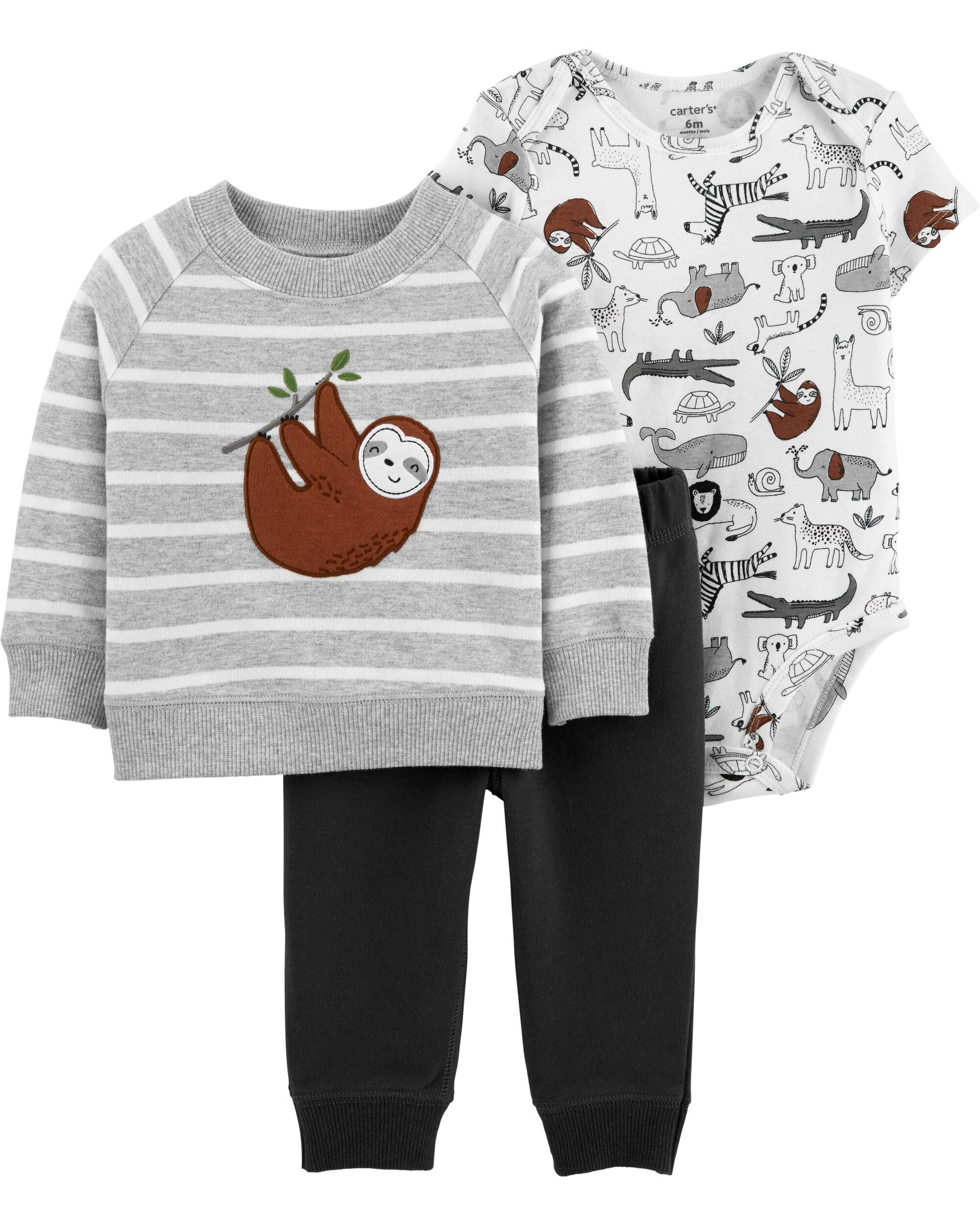 3-Piece Sloth Little Jacket Set