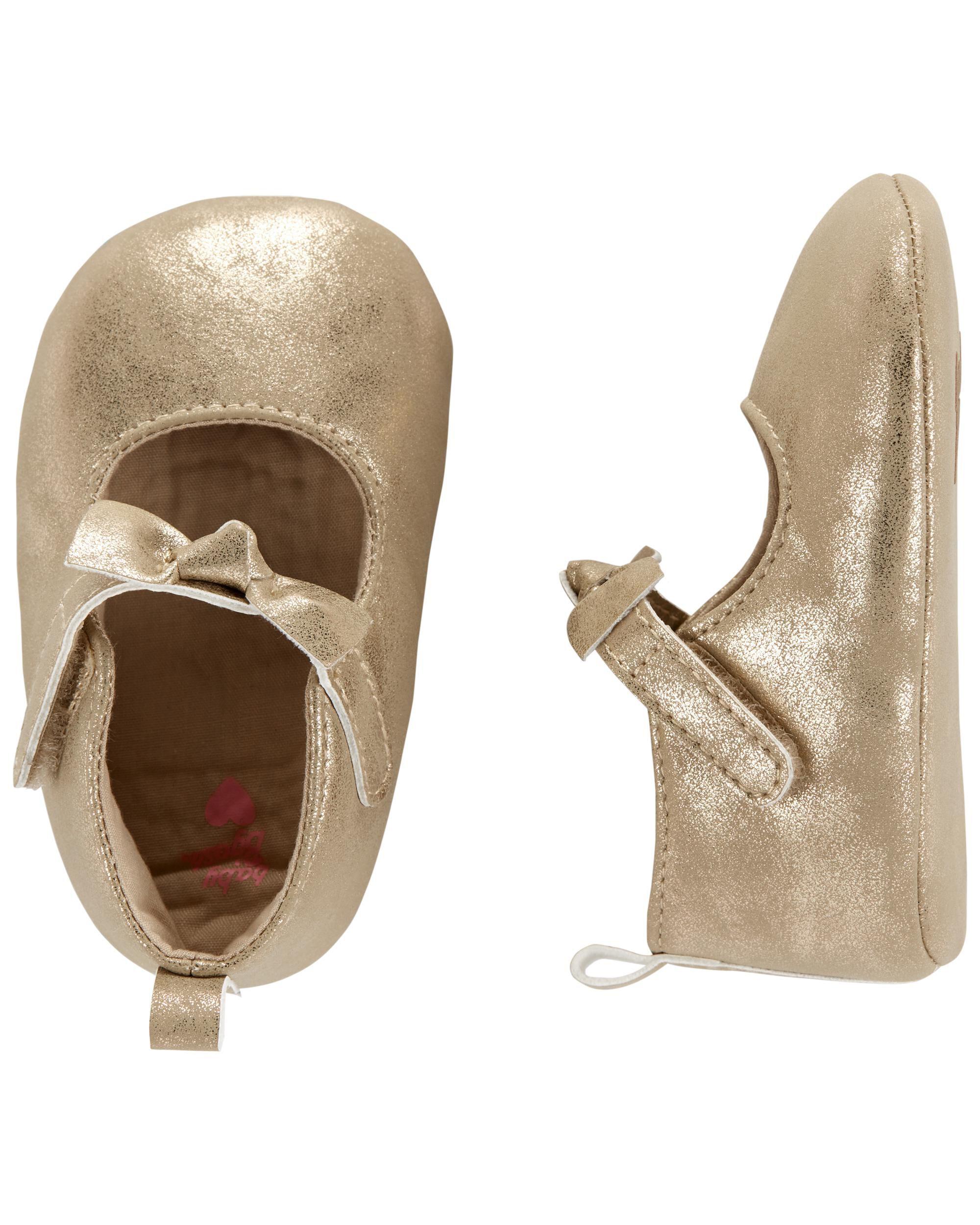 Oshkoshbgosh Gold Bow Mary Jane Baby Shoes